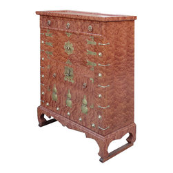 Golden Lotus - Korean Brass Hardware Deco Burl Wood Inlay End Table Side Cabinet - This is a Korean end table that has three drawers and two shelves. This piece is surrounded by many beautiful brass strips. It was made in China by a Korean-run factory. Especially, the front of cabinet is made of burl wood, and it looks gorgeous.  You can use this piece as a storage for small items.