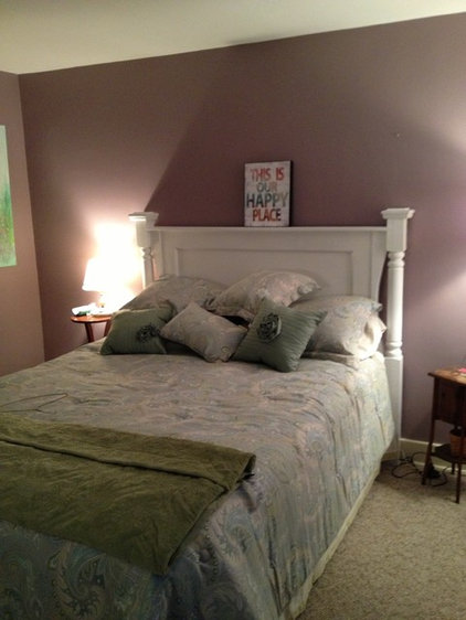 Shabby chic headboard made with a part of an old door and some salvaged lumber f
