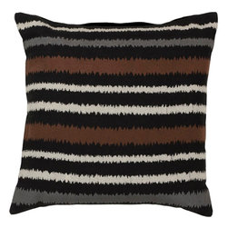 "Surya - Surya AR-101 Vertical Stripes Pillow, 18"" x 18"", Down Feather Filler - Looking to add a fun, upbeat style sure to spice up your space? Destined to transform your room, this quirky piece puts an exciting twist on the classic striped pattern. The cream, black, chocolate, and gray coloring comes together in perfect harmony, redefining luxury, crafting an elegant piece that possesses instant charm. This pillow contains a zipper closure and provides a reliable and affordable solution to updating your home's decor. Genuinely faultless in aspects of construction and style, this piece embodies impeccable artistry while maintaining principles of affordability and durable design, making it the ideal accent for your decor."