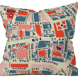 DENY Designs - Holli Zollinger Paris Map Blue Throw Pillow - Wanna transform a serious room into a fun, inviting space? Looking to complete a room full of solids with a unique print? Need to add a pop of color to your dull, lackluster space? Accomplish all of the above with one simple, yet powerful home accessory we like to call the DENY throw pillow collection! Custom printed in the USA for every order.