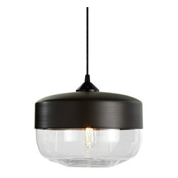 Hennepin Made - Parallel Wide Cylinder Pendant Light - Add modern elegance to your decor with this chic pendant light. The unexpected silhouette will draw your eye, and the premium quality materials will give your room a luxe look. The canister lamp is crafted from handblown glass and hand spun aluminum, and includes a black canopy, 40 watt bulb and four foot cord.