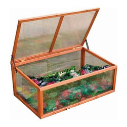"Advantek - Advantek Cold Frame Greenhouse - 21882 - Shop for Greenhouses from Hayneedle.com! Part of the ""Gone Green"" outdoor product line the Advantek Cold Frame Greenhouse is a superior sanctuary for shrubs sprouts seedlings or whatever your green thumb desires. Sporting a durable design this greenhouse is equipped to handle the outdoors with non-toxic rot-proof Fir lumber that repels insects. UV-proof polycarbonate walls and a waterproof roof provide added endurance and an insulating feature conserves cool in the summer and warmth in the winter. Its hardware is galvanized to prevent rust. With no bottom floor panel this greenhouse is well-suited for outdoor use."
