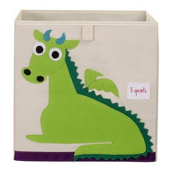 3 Sprouts - Dragon Storage Box - The 3 Sprouts storage box is the perfect organizational tool for any room. With sides reinforced by cardboard our storage box stands at attention at all times. Made to fit almost all cubby hole shelving units it adds a pop of fun to every room. Whether standing alone or placed in a cubby hole the 3 Sprouts storage box makes organizing easy.