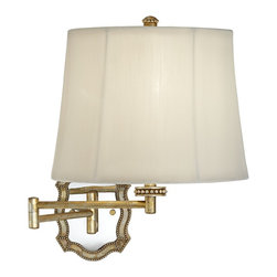 Lamps Plus - Traditional Scalloped Champagne Gold Plug-In Swing Arm Wall Lamp - I love the pretty scalloped design of this champagne-colored swing-arm lamp from Lamps Plus.