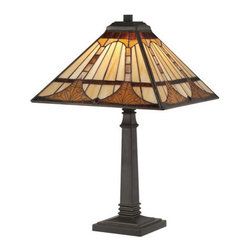 "Quoizel Lighting - Quoizel TF1246TVB Tiffany 1 Light Table Lamp, Vintage Bronze - The 21""-high Timber lamp in a Vintage Bronze finish sports clean, masculine lines that support an Arts & Crafts motif as well transitional and nature-inspired décors. It contains 172 pieces of Tiffany-style art glass that are hand-assembled using the copper foil method developed by Louis Comfort Tiffany. It is lamped by one 75-watt bulb."