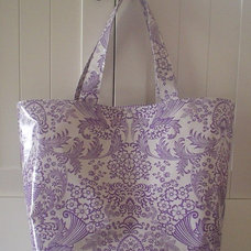 Beth's Big Lilac Paradise Oilcloth Market Tote Bag by marketbags