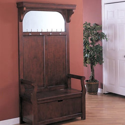 Coaster - Cherry Traditional Hall Tree - This beautiful cherry finished hall tree features storage coat hooks and a mirror.