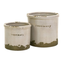 Imax - iMax Rosemary Herb Pots - Set of 2 X-2-50067 - Perfectly sized, this set of two rosemary herb pots is made of red clay and kiln fired to perfection. Finished in a white crackle glaze, rough edges are purposely exposed to add character.