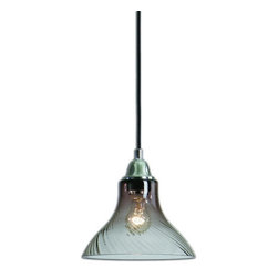 Uttermost - Uttermost 22018  Jasper 1 Light Swirled Glass Mini Pendant - A classic understated mini pendant of rich grey transparent swirled glass with polished nickel accents.