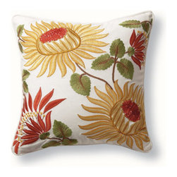 Grandin Road - Sunflower Pillow - 100% cotton shell. Embroidered front. Matching cord piping. Plush polyester pillow insert included. Zippered cover for easy dry cleaning. Our Sunflower Pillow is the warm accent you've been seeking. The saturated neutral hues of this embroidered throw pillow is soft to the touch and blooming with botanical brilliance.  .  .  .  .  . Imported.