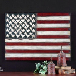 "Uttermost - American Flag Wall Art by Grace Feyock - 25.75"" X 36""  in Aged Red - Features: -Wall art. -Aged red finish. -Metal construction. -White and blue with black tipping. Dimensions: - 26"" H x 36"" W x 1"" D."