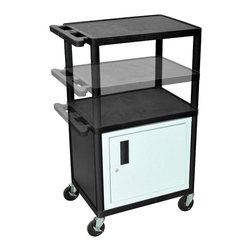 Luxor - Luxor Presentation Cart - LPDUOCE-B - Luxor's LPDUO presentation stations have shelves and legs made from high density polyethylene structural foam molded plastic