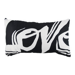 Manual - Overstuffed Love Grafitti Print Throw Pillow 12 1/2 Inch x 21 Inch - This 12 1/2 inch X 21 inch woven throw pillow adds a wonderful accent to your home. The polyester front side features the word 'Love' in a graffiti style font. The cotton back side is solid black. It is overstuffed with 100% recycled polyfill. Each of these pillows is crafted with pride in the Blue Ridge Mountains of North Carolina, and is a quality accent to your home.