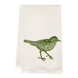 """artgoodies - Organic Wood Thrush Towel - This high quality 100% certified organic cotton tea towel was custom made just for artgoodies! Hand printed with one of my original linocut block print images it measures 20""""x28"""" and comes wrapped in a green ribbon made from 100% recycled plastic bottles! Nice and absorbent for drying dishes, looks great when company is over, and makes a great housewarming gift!"""