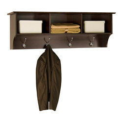 Prepac - Prepac Fremont Espresso Entryway Cubbie Shelf Coat Rack - Prepac - Coat Racks - EEC4816 - The versatile and stylish Fremont Entryway Cubbies is simple in design featuring three open shelf areas and four hooks perfect to hang your things. Well-suited to a number of decors a profiled top and solid antiqued bronze accents combine with a warm Espresso finish make it a welcoming contemporary statement to your room.