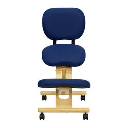 "Flash Furniture - Wooden Ergonomic Kneeling Posture Office Chair with Reclining Back - Wooden Ergonomic Kneeling Posture Office Chair with Reclining Back; Navy Blue Fabric Upholstery; Thick Padded Back, Seat and Knee Rest; Provides Firm Support; Height Adjustment Knob; Reclining Back for Sitting or Lying Down Positioning; Natural Wood Frame; Dual Wheel Casters; Assembly Required: Yes; Country of Origin: China; Warranty: 2 Years; Weight: 22 lbs.; Dimensions: 31""H x 18""W x 30""D"