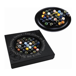 """Authentic Models - Colored Glass Marble Solitaire Table Game - This marble set is highly decorative with its brilliant colors contrasted beautifully against the mahogany board. Each of the 38 unique marbles are hand-blown resulting in 38 different marbles, with no two the same. You can use this item as home decor or it is fully functional as a game.Gift boxed, in an attractive box, this solitaire game can make a lovely gift for practically anyone!   * Dimensions: 11-3/4"""" W x 1-1/4"""" H. * 38 Assorted Marbles"""