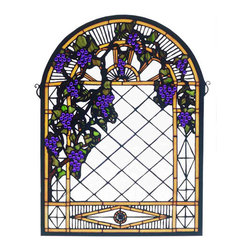 """Meyda - 16""""W X 22""""H Grape Diamond Trellis Stained Glass Window - Radiant concord purple jewels, vineyard green leavesand glistening dew kissed bark brown vines wrap arounda golden sunshine bands on a diamond grid of clearseeded glass. Bring sunny vineyards to your own homewith this lovely meyda tiffany original stained glasswindow. A solid brass hanging bracket and chains areincluded"""