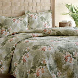 """Tommy Bahama - Tropical Orchid Quilt Set - Features: -Available in Twin, Full / Queen or King sizes. -Includes quilt and standard sham. -Twin size set includes one standard sham, Full / Queen size set includes 2 standard shams, King size set includes 2 King shams. -Color: Green with tropical floral design. -Material: 100% cotton. -Bound edges. -Reversible. -1"""" Vertical chanel quilt stitch. -Add the extra layer in the cool weather or use alone during the warmer months. -Machine washable."""
