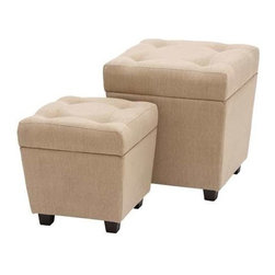"Benzara - Burlap Storage Stool with Comfort Cushioned Seating - Burlap Storage Stool with Comfort Cushioned Seating. This exquisitely designed wood burlap storage stool is perfect for your home. It comes with following dimensions 18""W x 18""D x 20""H. 15""W x 15""D x 15""H."