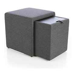Stash Gray Storage Ottoman - This sleek storage cube has it all: a side pocket, an extra seat, storage and a wood top that doubles as a serving surface. All that contained in a tiny sleek cube!