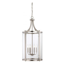 Joshua Marshal - Six Light Satin Nickel Clear Glass Foyer Hall Pendant - Six Light Satin Nickel Clear Glass Foyer Hall Pendant