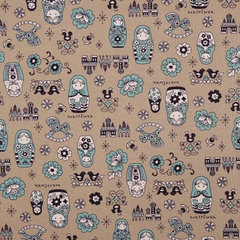 fabric beige matryoshka dolls Kokka fabric Japan babushka