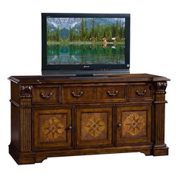 "Lexington - Sligh Laredo Media Console - 3 doors; 3 Multi-flex media drawers with adjustable wood dividers; 5 adjustable shelves; interchangeable wood panel or speaker cloth on center drawer and center door; Infrared SmartEye allows for remote control of concealed electronic components; five outlet surge suppressor with warranty; cord management; ventilation. Dimensions: 66-1/4""W x 23-3/4""D x 34""H"