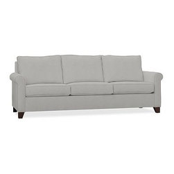 """Cameron Roll Arm Upholstered Grand Sofa, Polyester Wrap Cushions, Performance Ca - Crafted by our master upholsterers in North Carolina, our Cameron Collection offers superb quality at an unparalleled price. Our sofa is built with eco-friendly materials and plush seat cushions for maximum comfort. 98"""" w x 36"""" d x 35"""" h Polyester-wrapped cushions provide a tailored and neat look. Proudly made in America, view video. For shipping and return information, click on the shipping tab. When making your selection, see the Quick Ship and Special Order fabrics below. Please call 1.888.779.5176 to place your order for additional fabrics."""