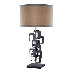 Dimond Lighting - Dimond Lighting D2135 Griffin Single-Light Metal Table Lamp - The Griffin table lamp artistically combines multiple metal squares into one enchanting lamp base. It brings retro style to any room.Features: