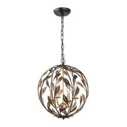 Crystorama - Crystorama 504-EB-GA Broche Chandelier - From the French brooch, the Broche collection lights up a room with tailored elegance. The simple wrought iron leaves on each light are hand painted in one of two metallic finishes - burnished antique gold or English bronze. There's also a two-tone sphere option that embraces one of fashion's hottest trends - mixing metals.