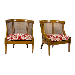 Cane Library Tub Chairs - 1960s caned-back library tub chairs newly upholstered by the Paris house of Nobilis Ikat fabric.