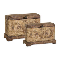 Uttermost - Scotty Wood Boxes, Set of 2 - Plantation Grown Mango Wood With Aged Ivory Hand Painted Details. Sizes: Sm-13x9x5, Lg-15x12x7