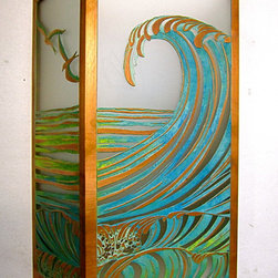 Wave Sconce - Solid copper, hand painted green vertigri with Japanese high-strength etched glass. Also available in solid copper with an aged finish or raw copper (without green vertigri).