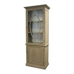 """Zentique - Florence Cabinet by Zentique - We love this great looking breakfront cabinet with unique oval applique wood detail over glass panel. The two shelves behind the glass door offer both great display and storage. (ZEN) 36"""" wide x 20"""" deep x 91"""" high"""