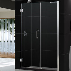 "Dreamline - UNIDOOR Frameless 54-55"" Adjustable Shower Door Chrome - Product Type: Shower Door Glass type: Clear 3/8 (10mm) thick tempered glass. Hardware finish: Chrome Self-closing solid brass wall mounted hinges.  Glass door is reversible for left-wall or right-wall installations.  Shower Door includes a 30 inches stationary glass panel with a full length aluminum wall profile, adjustable by 1 inches  Door kit includes wall support arm hardware required for stationary panel installation.  Door opening (door swing dimension): 24 inches Dimensions: UNIDOOR models come with a fixed door height of 72 inches. Self-closing solid brass wall mounted hinges (5 degree offset) Assembly is required Materials: Tempered Glass, Aluminum Profiles, Brass Hinges"