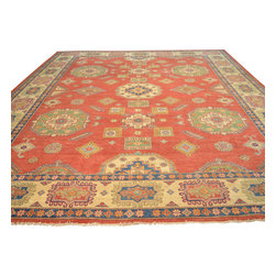 Oversize Tribal Design Kazak 100% Wool 12'x17' Hand Knotted Oriental Rug Sh17687 - Our Tribal & Geometric hand knotted rug collection, consists of classic rugs woven with geometric patterns based on traditional tribal motifs. You will find Kazak rugs and flat-woven Kilims with centuries-old classic Turkish, Persian, Caucasian and Armenian patterns. The collection also includes the antique, finely-woven Serapi Heriz, the Mamluk Afghan, and the traditional village Persian rug.