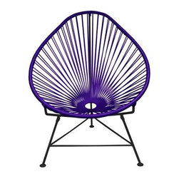 "Innit - Innit Acapulco Chair - Purple Weave on Black Frame - ""Relax in cool, contemporary style with this hot-weather Acapulco lounge chair from Innit Designs. Whether enjoying a tropical sunset from the patio or lounging poolside with friends, the chair combines comfort with an eye-catching design. Inspired by the airiness of backyard rope hammocks, the 1940s-style Acapulco lounge chair uses a traditional Mayan weaving technique to create a modern take on the classic woven chair. The chair's waterproof, UV-resistant vinyl cord comes securely wrapped around its recycled, rust-resistant, galvanized-steel frame, which provides a semi-textured polyester powder-coat for long-lasting durability and good looks from one season to the next. The Acapulco lounge chair's woven vinyl not only offers visual appeal and breathability, but also exceptional support and comfort (no cushion needed). The Acapulco lounge chair works well as an accent piece on its own or to create a visiting area when paired with more than one (additional chairs sold separately). Keep all the chairs the same color to complement surrounding decor, or mix it up for a bold, vibrant color scheme that reflects your personal sense of style. The Acapulco lounge chair comes in a vast array of vibrant colors.Dimensions: 30"""" wide by 35"""" deep by 35"""" high with 14"""" sitting heightModern lounge chair with woven UV-resistant vinyl cord for breathability and supportRust-resistant, galvanized-steel frame and semi-textured polyester powder coatWeatherproof, stackable, and easy to cleanPear-shaped frame and tripod base; for indoor/outdoor and residential/commercial use"""