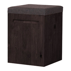 """Moe's Home Collection - Pine Stool Grey Fabric - Light weight. Make a great seating addition to dining table. Cushion covered fabric seating foam. Novatex upholstery with pine finger joint. Dimensions: 14""""W x 14""""D x 19""""H."""