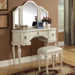 "Acme Furniture - Trini Vanity Desk and Stool in White (Mirror not included) - Trini Vanity Desk and Stool in White; Finish: White; Vanity Table & Stool, Wood Drawer Glide, Connected on the Side; Materials: MDF, Solid Wood Leg, CA FR Foam; Weight: 75 lbs; Dimensions: Vanity Desk: 48"" x 19"" x 34""H, Stool: 18"" x 13"" x 20""H"