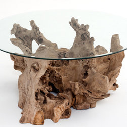Driftwood Coffee Table - Here's a great option for a burled wood coffee table. This has a rough finish, but the glass top is perfect for balancing food and drinks.