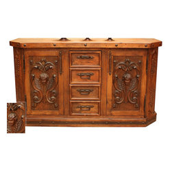 Mexican Artisans - Angels Mesquite Hand Carved Buffet - Indeed Decor's extraordinary Angels Mesquite Hand Carved Buffet deserves a heavenly place of honor in your dining room.  This exquisite work of art is large enough to store all of your entertaining essentials. This grand buffet measures 72″W x 44″H x 22″D.