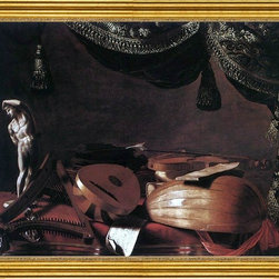 "Evaristo Baschenis-16""x20"" Framed Canvas - 16"" x 20"" Evaristo Baschenis Still-Life with Musical Instruments and a Small Classical Statue framed premium canvas print reproduced to meet museum quality standards. Our museum quality canvas prints are produced using high-precision print technology for a more accurate reproduction printed on high quality canvas with fade-resistant, archival inks. Our progressive business model allows us to offer works of art to you at the best wholesale pricing, significantly less than art gallery prices, affordable to all. This artwork is hand stretched onto wooden stretcher bars, then mounted into our 3"" wide gold finish frame with black panel by one of our expert framers. Our framed canvas print comes with hardware, ready to hang on your wall.  We present a comprehensive collection of exceptional canvas art reproductions by Evaristo Baschenis."