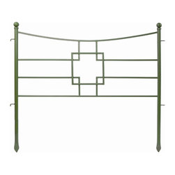 Achla - Square on Squares Fence Section - Enhance the appearance of your landscape with decorative garden fencing.  The fence section can accentuate corners, surround flowerbeds, and add curb appeal.  Pair it with arbors and trellises at entries or create a flowerbed.  Add graceful accents to your lawn or garden with this decorative fence.  Give your garden or yard  a look of charm and rustic antiquity. * Finish: Powder Coated - Juniper. Construction: Iron. 36 in. L x 31.5 in. H