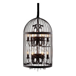 Canary Ceiling Lamp - nspired by a vintage birdcage, the Canary ceiling lamp juxtaposes rustic hand-wrought iron with a precision-cut faceted crystal lamp. Twelve 25w bulbs are included. The lamp is UL approved.