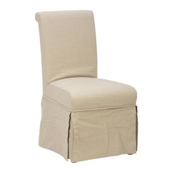 Jofran - Jofran 941-162KD Slipcover Skirted Parson Chair - Linen Combo Cover (Set of 2) - Slipcovers are currently trending in the furniture industry for their shabby-chic look. They can be traditional, rustic or transitional and have a clean-cut look that is also fashionable. This chair features a frame made from solid Asian hardwood with a linen-like fabric making up the slipcover. It offers a natural looking elegance as well as comfort with a padded seat and back.