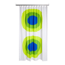 Marimekko Melooni Green/Blue Shower Curtain - This classic Marimekko pattern will bring huge and bold style to your bathroom. Even the most boring of baths can be enlivened and transformed by this one purchase.
