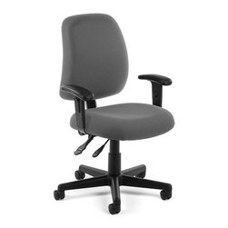 OFM - OFM Posture Task Chair With Arms in Gray - OFM - Office Chairs - 1182AA801 - Give your spine the support it needs with OFM's 118-2 Posture Series Task Chair with Arms. This chair features built-in lumbar support 7-position adjustable arms plus adjustable back depth and height pitch and gas-lift seat height adjustment. High-quality fabric is rated to exceed 150000 double rubs and the seat back is fully upholstered. The wheeled 5-star base adds stability. Weight capacity up to 250 lbs.