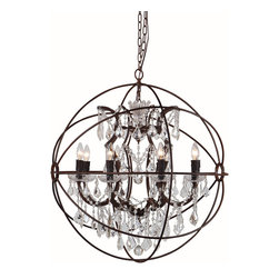 Terracotta Designs - Terracotta Designs Canova Crystal Orb Chandelier, *Houzz Exclusive* - Terracotta Designs CHAN8031-8A Canova 8-light Rustic Crystal ORB Chandelier
