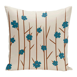 e by design - Floral Branches Off-White and Teal 16-Inch Cotton Decorative Pillow - - Decorate and personalize your home with coastal cotton pillows that embody color and style from e by design  - Fill Material: Synthetic down  - Closure: Concealed Zipper  - Care Instructions: Spot clean recommended  - Made in USA e by design - CPO-NR4-Branches_Flowers_Bisque_Teal-16